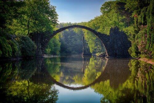 桥梁和绿色树木